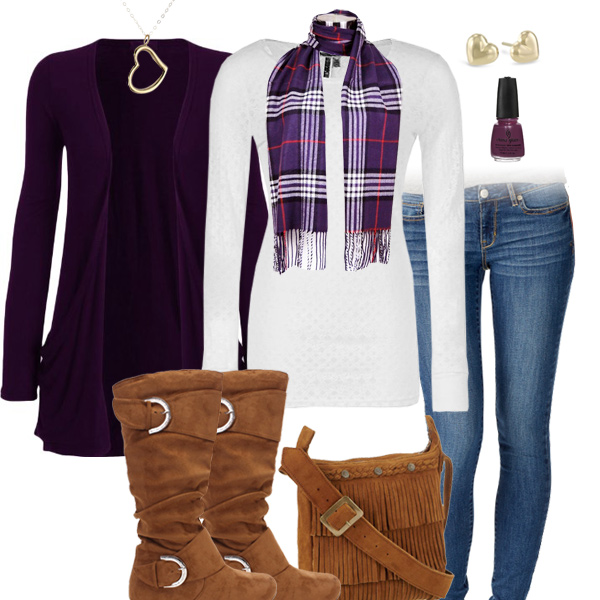 Purple Scarf And Cardigan