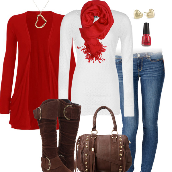 Red Scarf And Cardigan