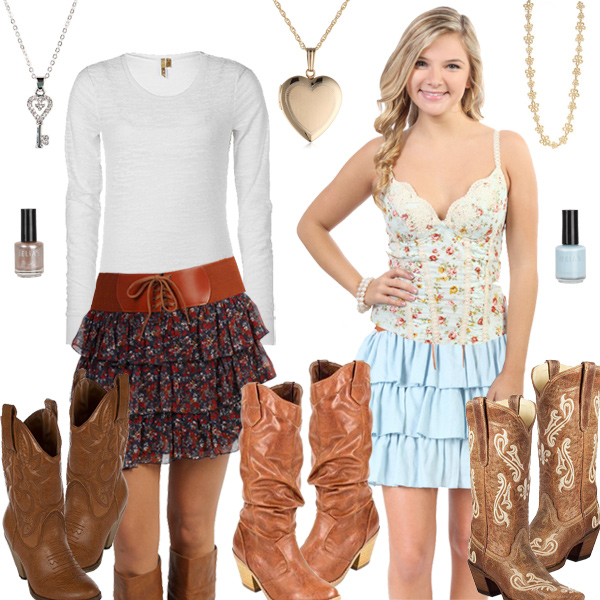 Cute Girly Cowboy Boots With Skirts