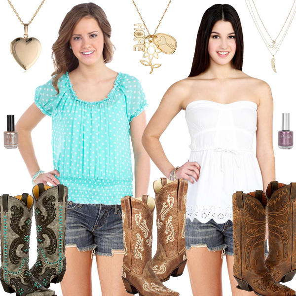 Cute Girly Cowboy Boots With Shorts
