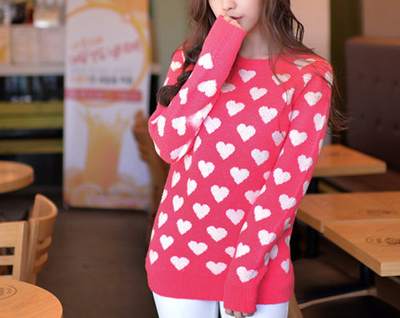 Cute Valentine's Day Pink Heart Sweater