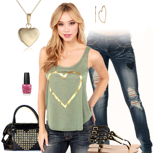 Hearts Tank Top - Valentine's Day Outfit