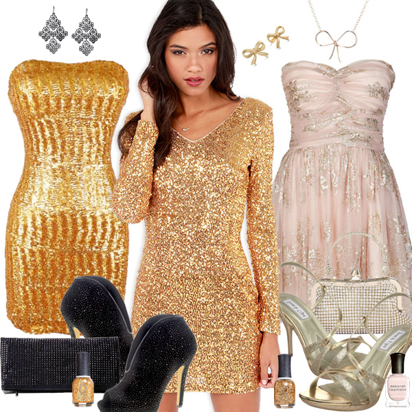 Gold Holiday Party Dresses