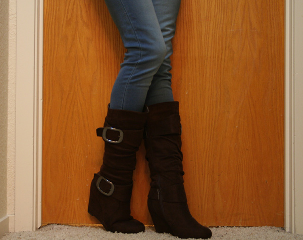 Cute Brown Buckle Wedge Boots