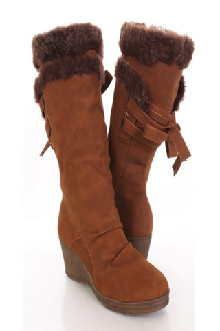 Faux Fur Trim Bow Tie Wedge Boots