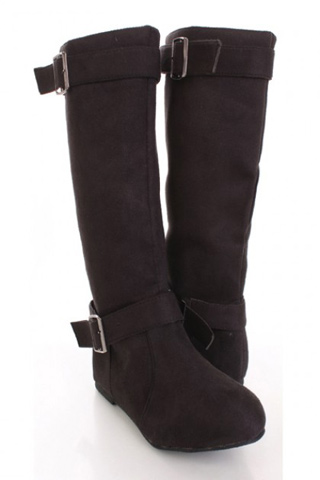 Black Faux Suede Buckle Boots