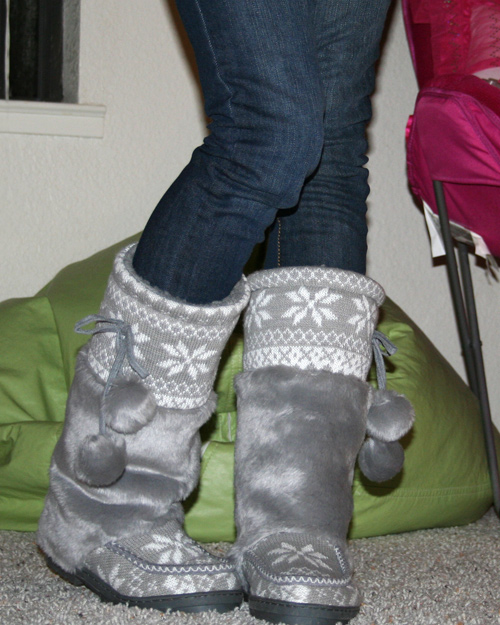 Cute Gray Sweater Boots