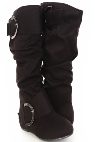 Black Faux Suede Slouchy Buckle Boots