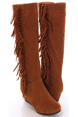 Tan Faux Suede Fringe Side Mid Calf Low Wedge Boots