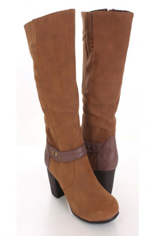 Camel Faux Suede Riding Boots