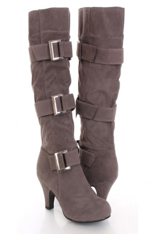 Grey Faux Suede Buckle Boots