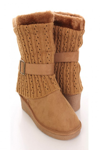 Faux Suede Knitted Sweater Boots