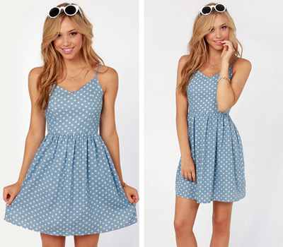 Blue Polka Dot Chambray Summer Dress