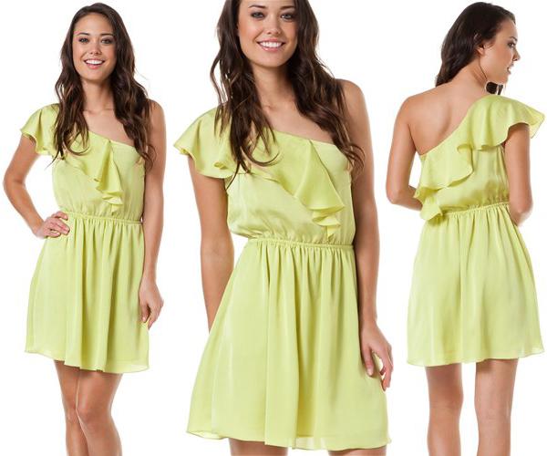 One Shoulder Ruffle Dress, Lime Green Dress, Lime Green