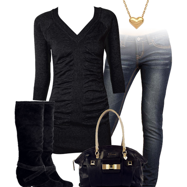 Cute Black Sweater Top Outfit